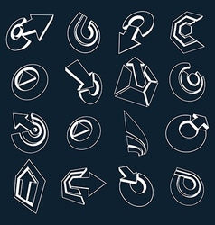 Dimensional black and white app buttons Collection vector