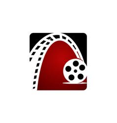dynamic filmstrip logo design template vector image