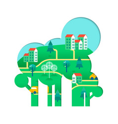 eco friendly tree concept with green city vector image