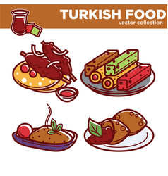 Exotic turkish food collection with dishes vector