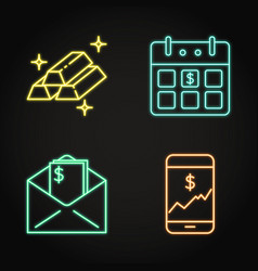 finance icon set in neon line style vector image