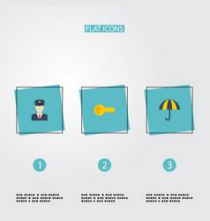 Flat icons policeman parasol clue and other vector