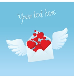Flying envelope with wings filled with red hearts vector