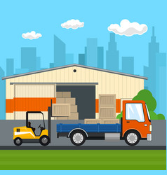 Forklift loads or unloads boxes from a truck vector