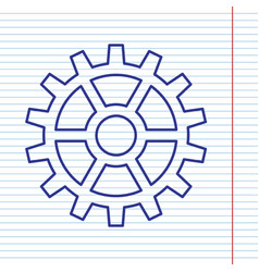 gear sign navy line icon on notebook vector image