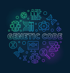 Genetic code round colored outline vector