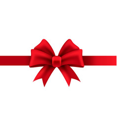 gift bow red ribbon for present package vector image