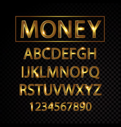 Gold alphabet letters and numbers isolated vector