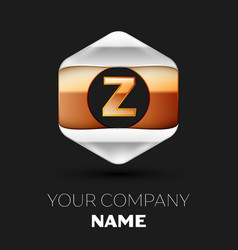 golden letter z logo in silver-golden hexagonal vector image