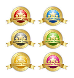 Golden star symbols with premium quality ribbons vector