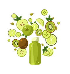 green smoothie recipe of ingredients vector image