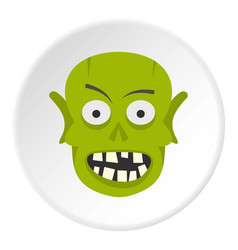 Green zombie head icon circle vector