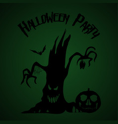 halloween party old tree pumpkin and bats vector image