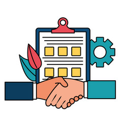 Hands business done deal with checklist vector