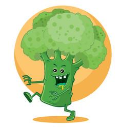 huge big broccoli in green light runs vector image