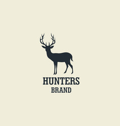 Hunting deer silhouette design logo vector