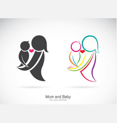 Icon of a mom and baby on white background vector