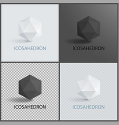 icosahedron geometric 3d shapes in black and white vector image