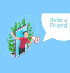 Isometric flat concept refer a friend vector
