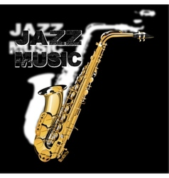jazz music on a black and white background vector image