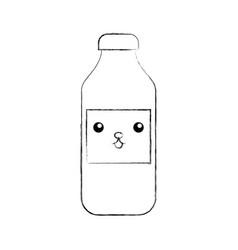 Kawaii bottle sausage market condiment cartoon vector
