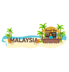 Malaysia travel palm drink summer lounge vector