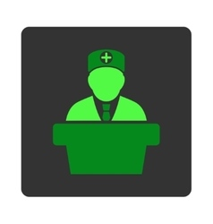 Medical Official Lecture Flat Button vector