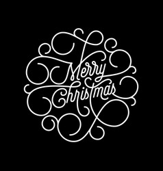 Merry christmas flourish calligraphy lettering vector