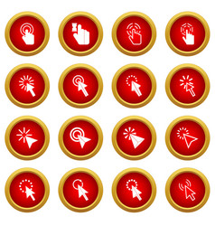 Mouse pointer icon red circle set vector