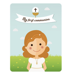 My first communion reminder with foreground girl vector