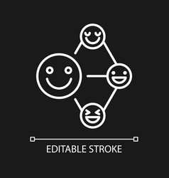 Networking talent white linear icon for dark theme vector