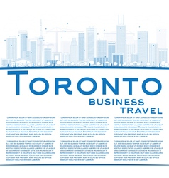 Outline Toronto skyline with blue buildings vector image