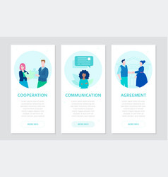 partnership - set of flat design style banners vector image