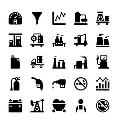 Petroleum industry glyph icons vector