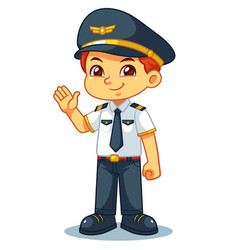 Pilot boy friendly welcoming pose vector