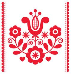 Polish folk art round design with flowers vector