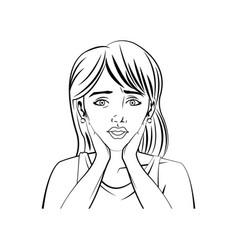 portrait woman beauty character comic style vector image