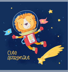 Postcard poster cute astronaut leon in space vector