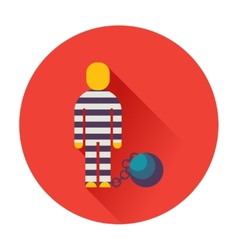 prisoner with ball on chain icon vector image
