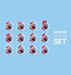 profile icon male emotion avatar set hipster man vector image