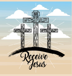 Receive jesus three cross sky light catholicism vector