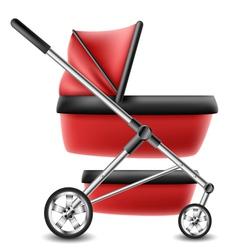 Red baby stroller vector