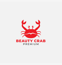 Red lip and crab logo design vector