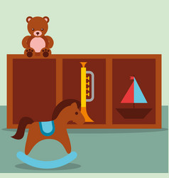 rocking horse trumpet teddy and sailboat in vector image
