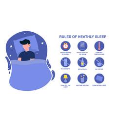 Rules healthy sleep vector