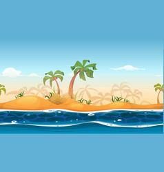 Seamless tropical beach landscape vector