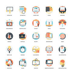 Seo and development flat icon 8 vector