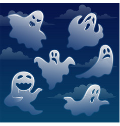 set ghosts with different emotions on sky with vector image