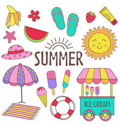set isolated summer icon part 1 vector image