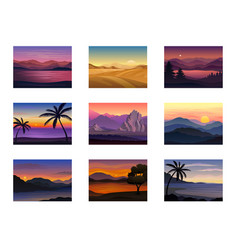 Set night and evening landscapes vector